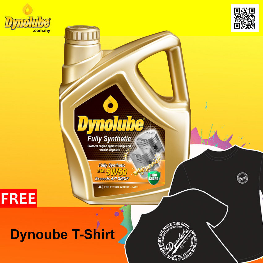 Dynolube 5W50 SN/CF Fully Synthetic 4Liter (For Turbo Engine) Engine Oil FREE 1 X T-Shirt (I)