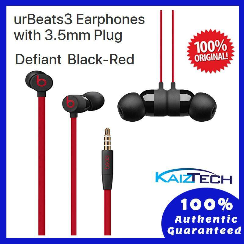 100% Original Beats urBeats3 Earphones with 3.5 mm Plug - Defiant-Black-Red