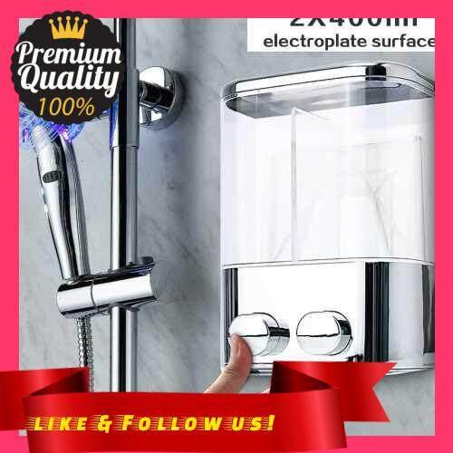 People\'s Choice Double Wall Mount Soap Shampoo Shower Gel Dispenser Liquid Foam Lotion Bottle (Type 2)
