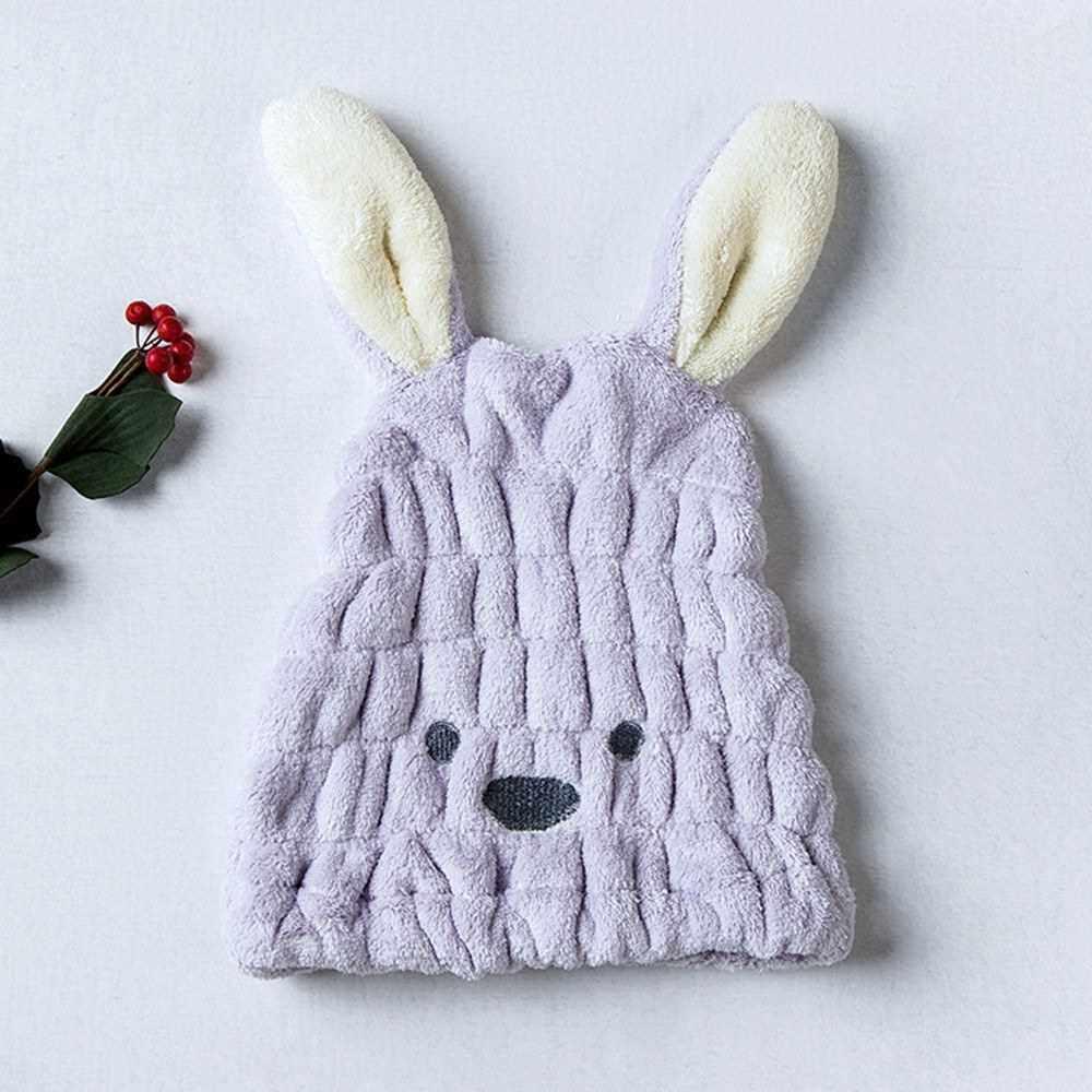 Coral Fleece Hair Towel Head wrap with Rabbit Ears Rapid Drying Shower Towel (Purple)
