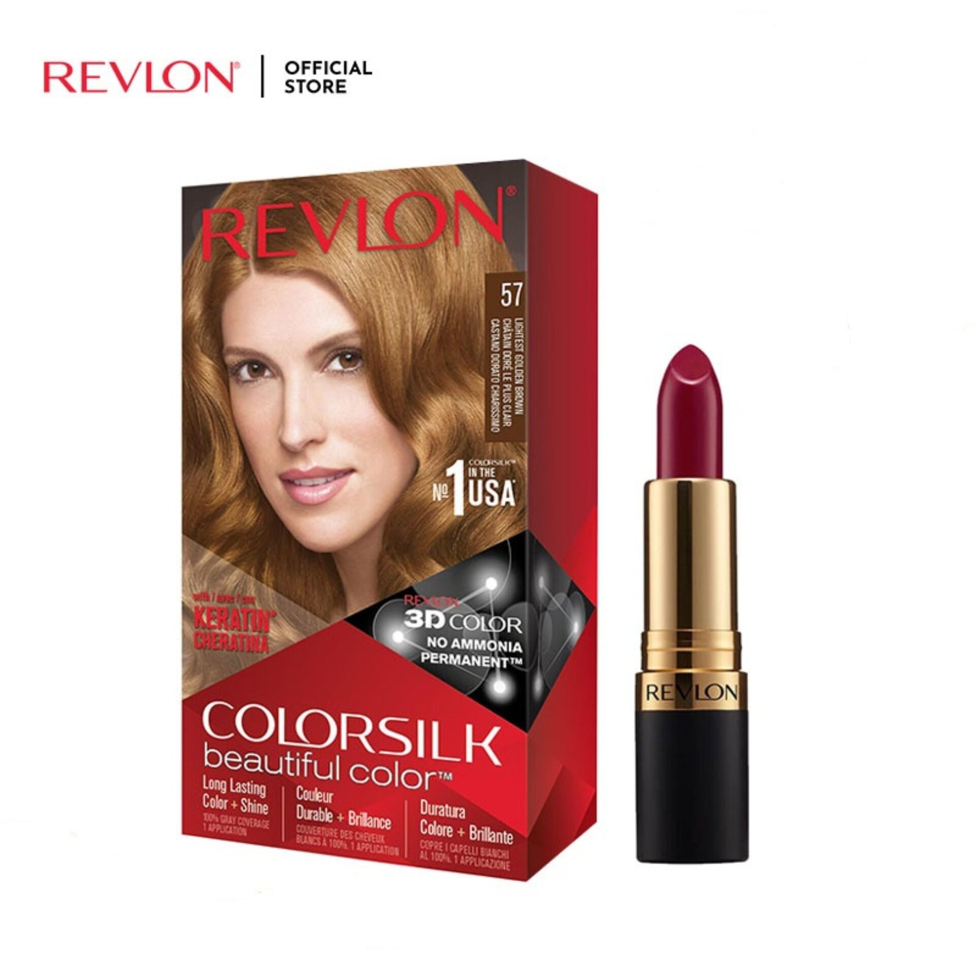 Revlon ColorSilk Lightest Golden Brown Hair Color FREE Super Lustrous Power Move Lipstick