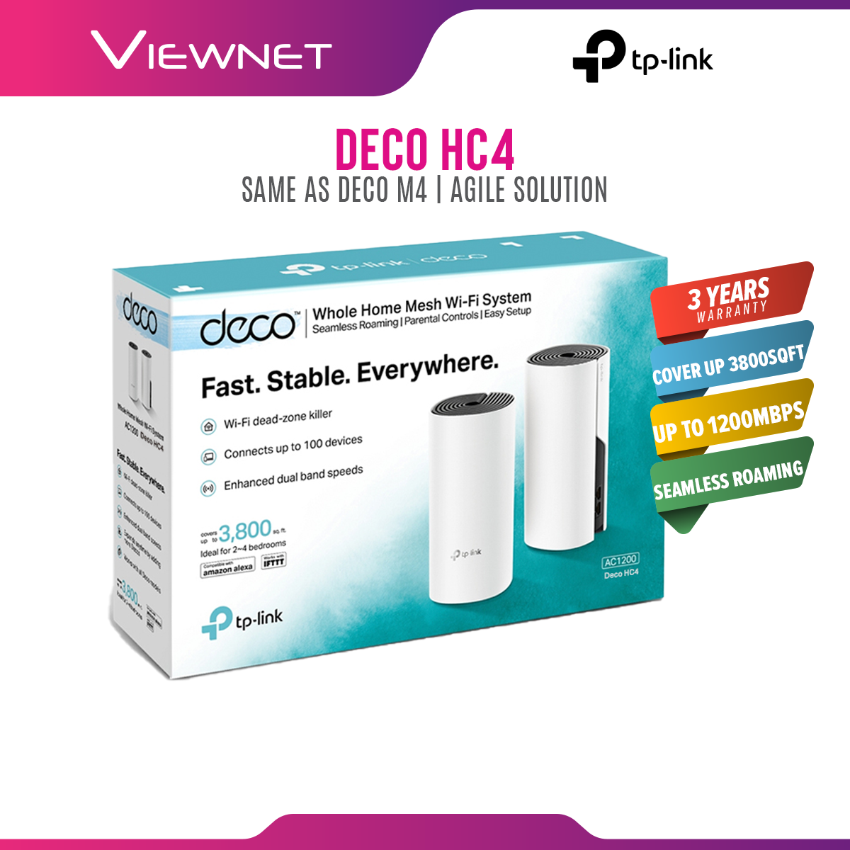 (ONLINE EXCLUSIVE) TP-Link Deco HC4 AC1200 Whole Home WiFi mesh Wi-Fi System ( 2 packs ) SUPPORT UNIFI, MAXIS, CELCOM , TIME & HyppTV