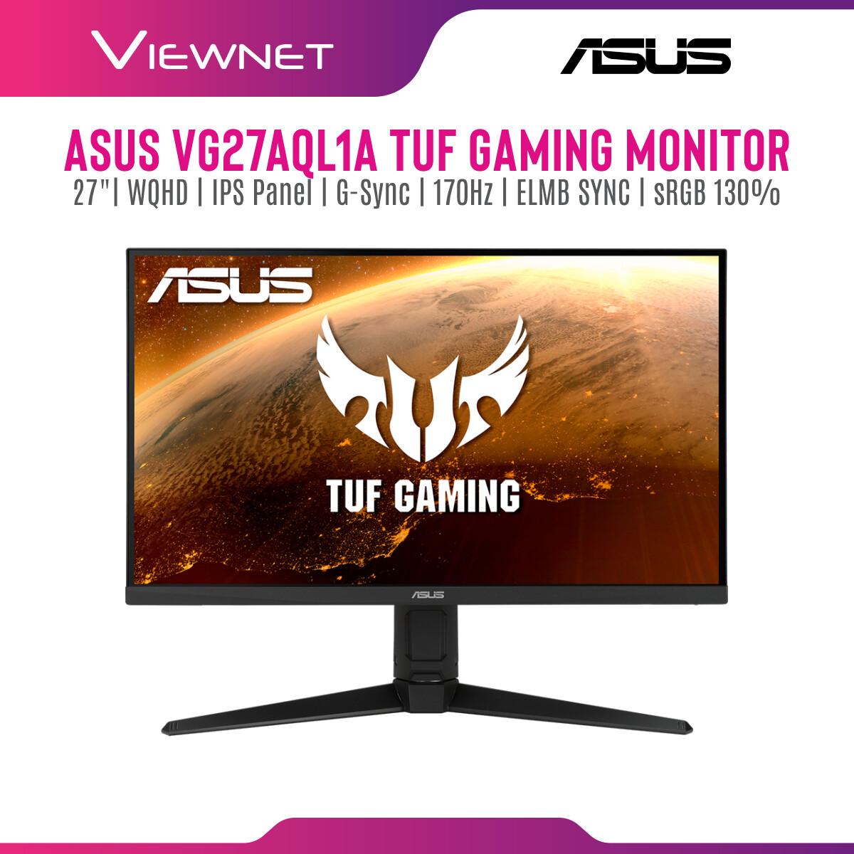 Asus TUF Gaming VG27AQL1A G-SYNC Compatible Gaming Monitor –27 inch WQHD (2560x1440), IPS,170Hz (above 144Hz), ELMB SYNC, Adaptive-sync, G-Sync compatible ready, 1ms (MPRT), 130 % sRGB, HDR
