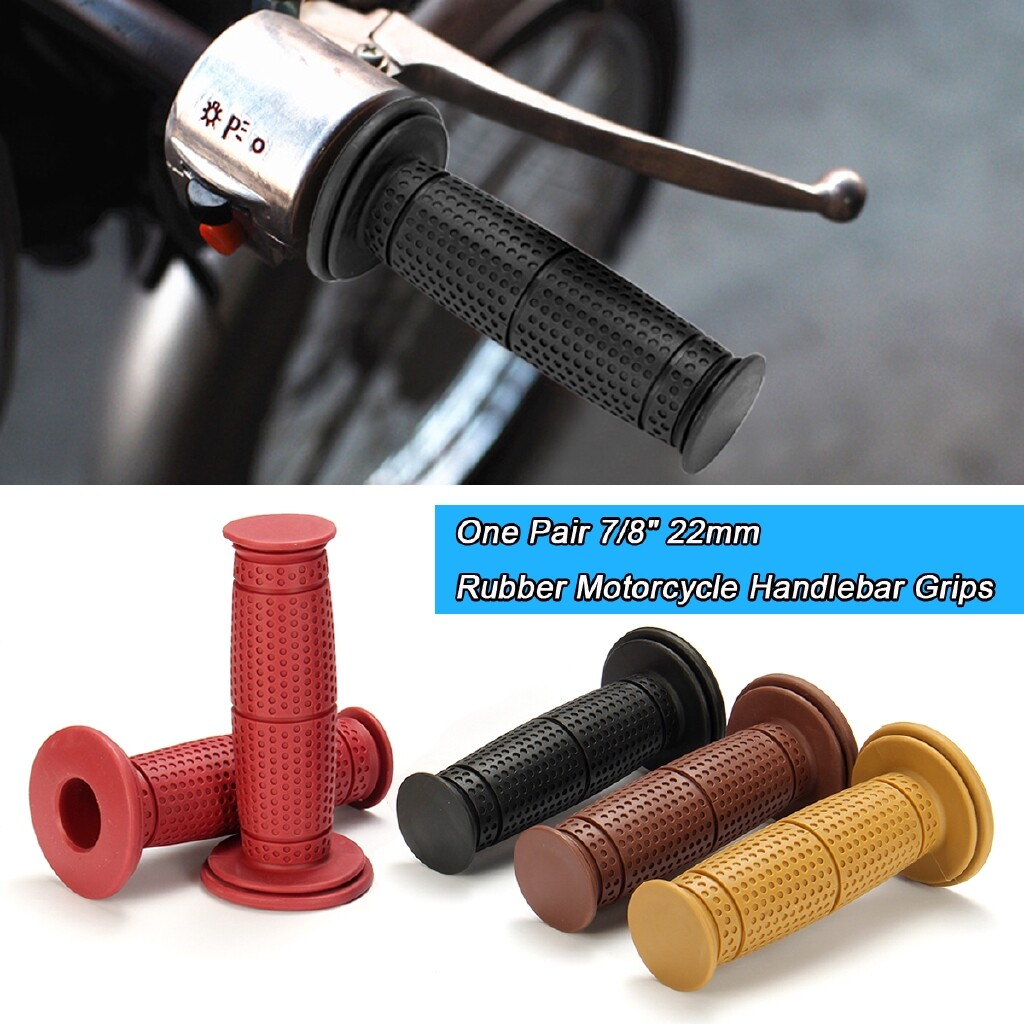 Moto Accessories - 7/8 22mm Motorcycle Bike Handlebar Hand Grips Cafe Racer Bobber Clubman Custom - WINE RED / BROWN / YELLOW / BLACK