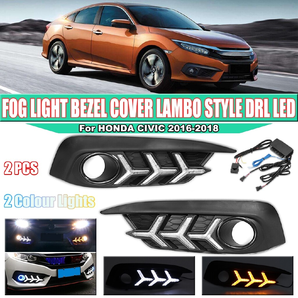 Car Lights - LED DAYTIME RUNNING LIGHT BEZEL COVER LAMBO STYLE For 2016- HONDA CIVIC DRL - Replacement Parts