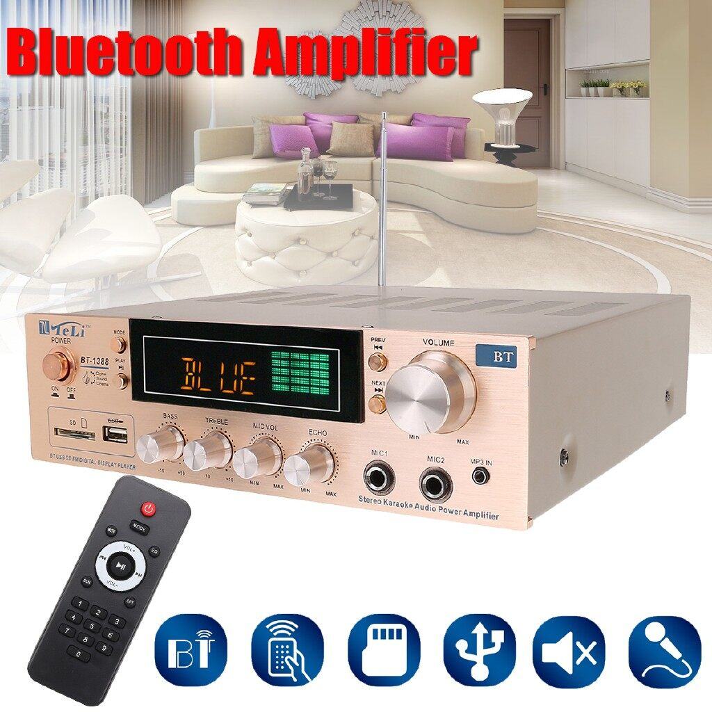 Mobile Cable & Chargers - Professional 800W BLUETOOTH 2 Channel Home Powered Stereo Amplifier FM Karaoke