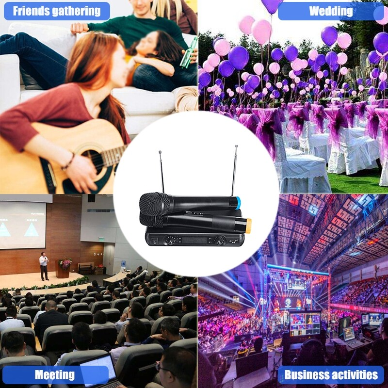 Plugs & Adapters - 220V WIRELESS Microphone System UHF 2Handheld Mic Karaoke Home Application - Home Improvement