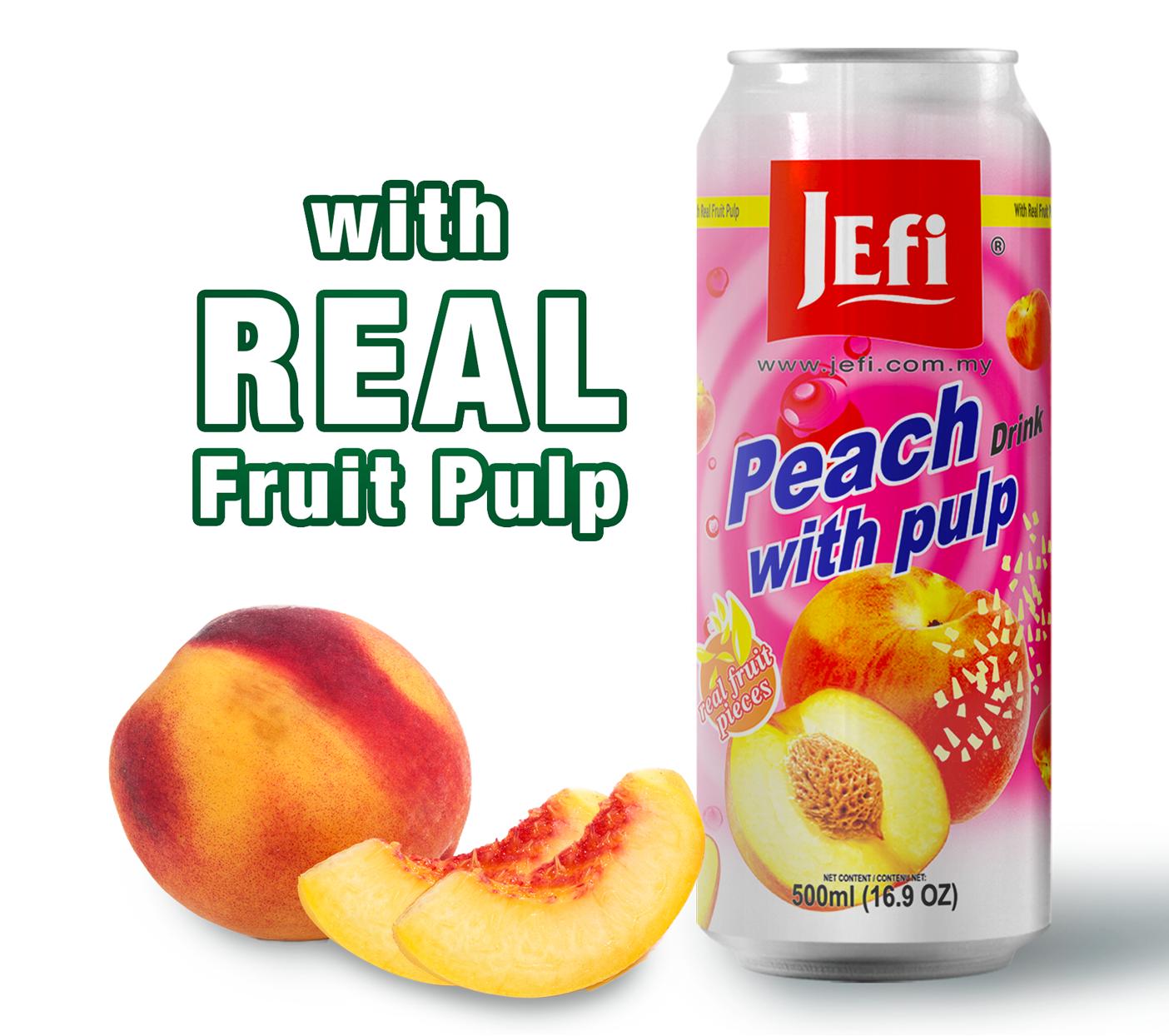 JEFI Peach Drinks with Real Fruit Pulp (500ml x 1tin)