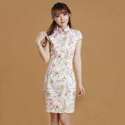 (Pre Order 14 DAYS)  JYS Fashion Women Cheongsam Collection 249-6854 Design 1 (White) 3XL
