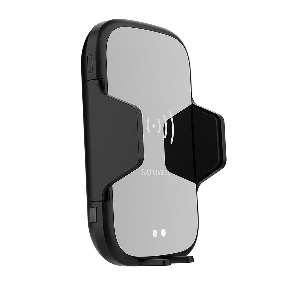 Phone Holder & Stand - 9W Infrared Automatic Sensor Fast Charging Phone Bracket WIRELESS Car Charger For iPh X - BLACK