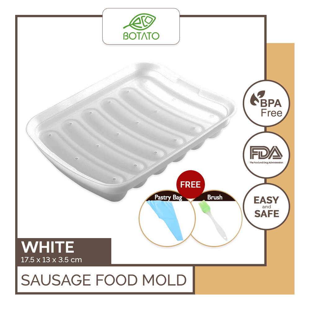 ?[Eco.Botato] SAUSAGE FOOLD MOLD for Food BPA Odor Free Flexible Silicone Mold with Lid cover Brush Pastry Bag Hot Dog
