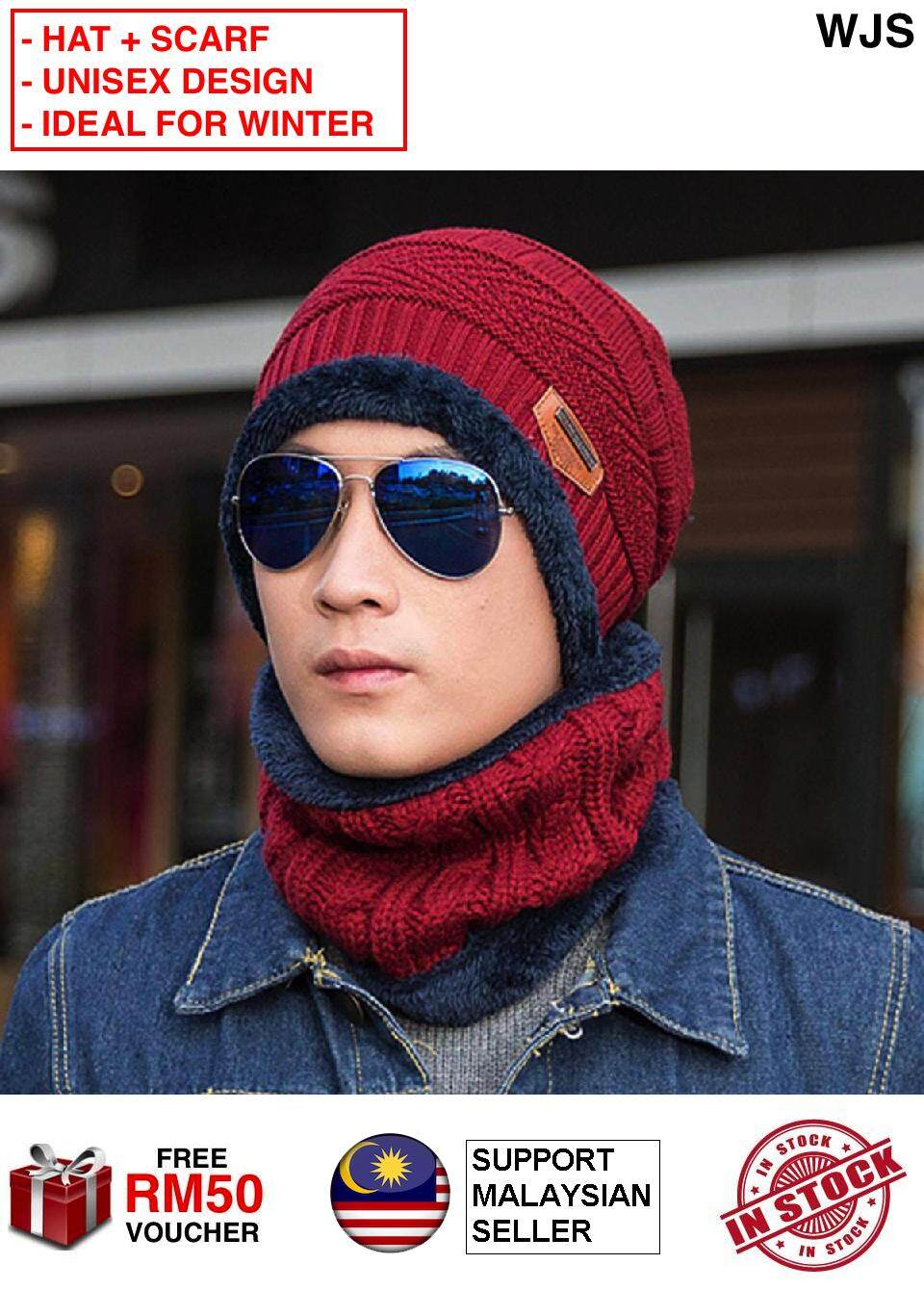 (HAT + SCARF) WJS 2pcs 2 pcs 100% Cotton Winter Hat And Scarf Knit Hat and Neck Warmer Scarf Set Unisex Men Women Thick Knitted Skull Cap Beanie Hat Warm Scarf BLACK GREY BROWN RED NAVY BLUE [FREE RM 50 VOUCHER]