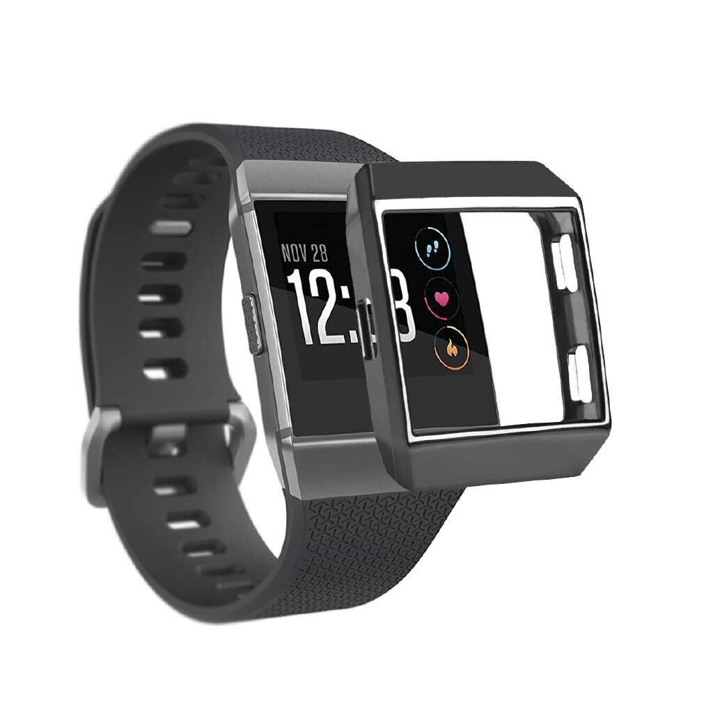 Fitness Tracker - Silicone Rubber Frame Skin Cover Protective Case For Fitbit Ionic Smart Watch - ROSE GOLD / SILVER / GOLD / RED / BLACK