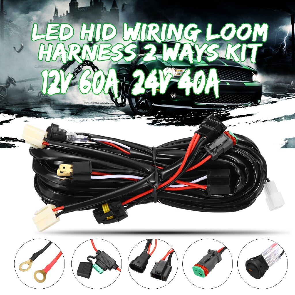 Car Lights - LED HID Wiring Loom Harness 2 Ways DT Kit Driving Lights Bar Plug & Play 40A - Replacement Parts