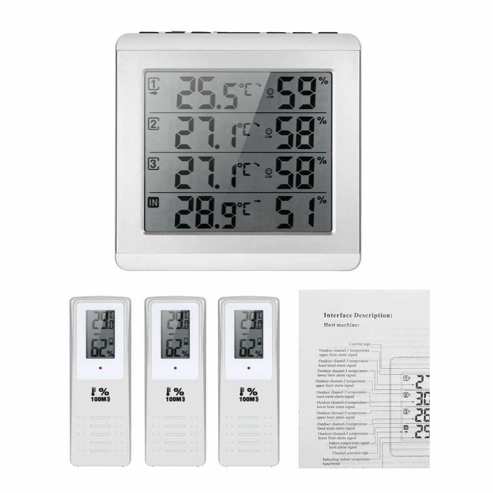 LCD Digital Wireless Indoor/Outdoor Thermometer Hygrometer Four-channel ?/? Temperature Humidity Meter with 3 Outdoor Transmitter Comfort Level (White)
