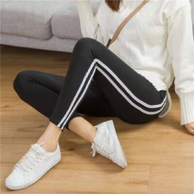 Anyongzu style wears the bottom pants female vertical stripe pure cotton shows thin body stretch big