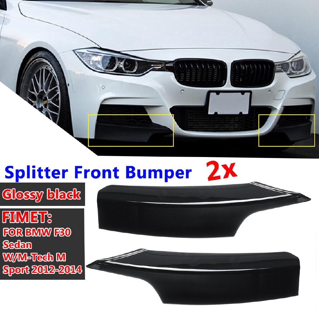 Car Lights - Glossy Black Splitter Front Bumper For BMW F30 Sedan W/ M-Tech M Sport - Replacement Parts