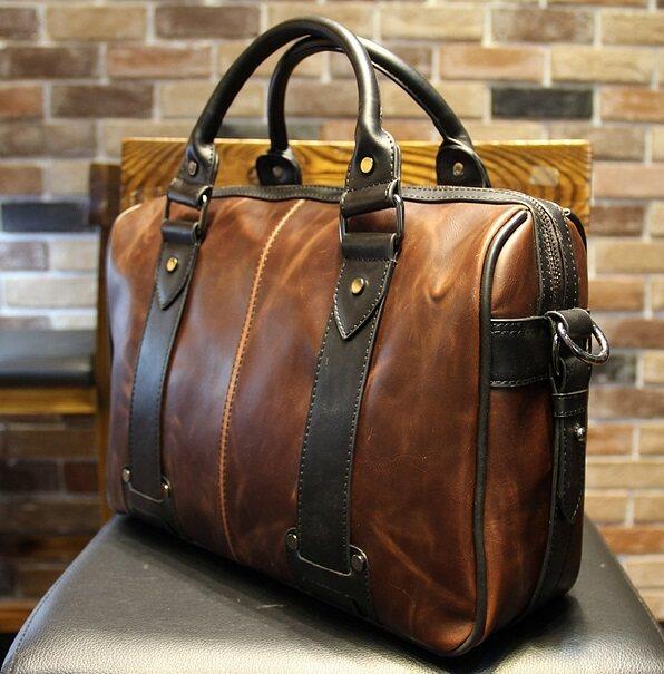 Document bag Leather Briefcase, Messenger bag C/W shoulder strap office style handbag original designed
