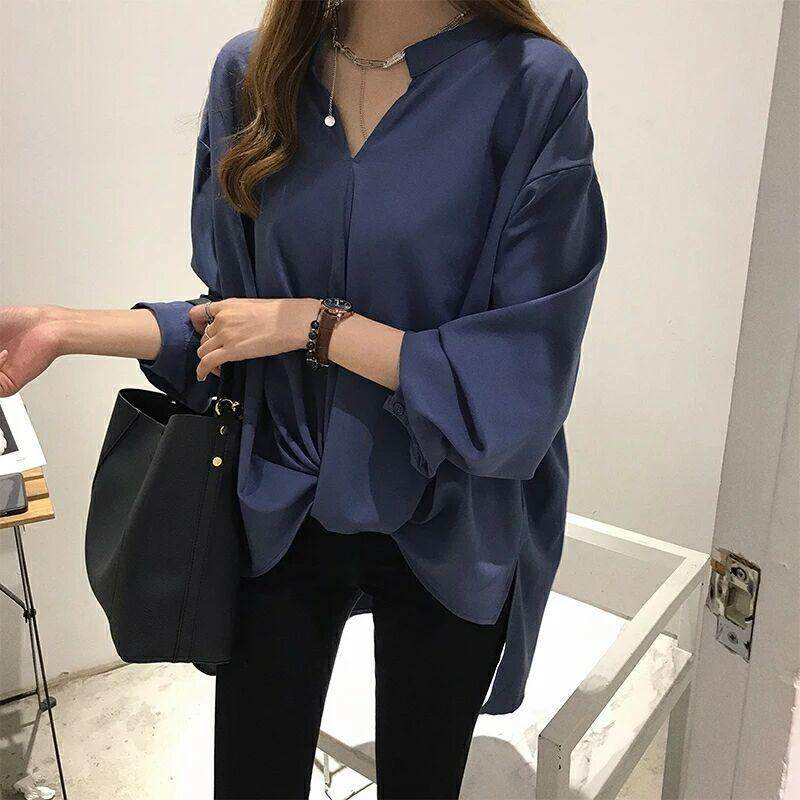 Women Plus Size V Neck Long Sleeve Office Wear Casual Wear Cotton Linen Baggy Loose T-shirt Blouse Tops (A-19)
