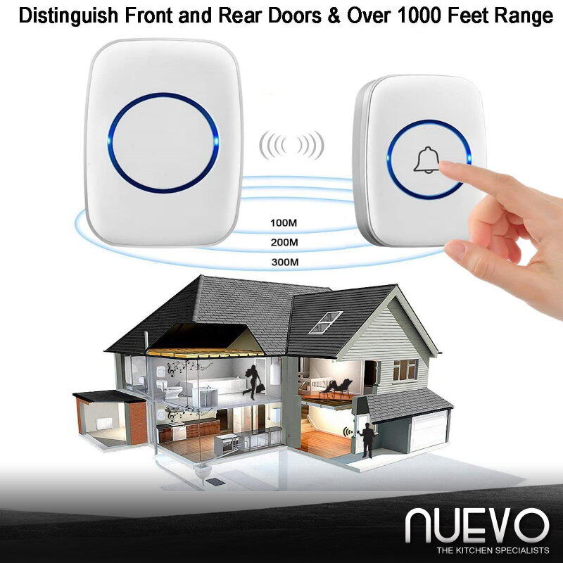 Wireless Doorbell, FullHouse Waterproof Door Bell Kit, Distinguish Front and Rear Doors 5 Levels Volume and LED Flash
