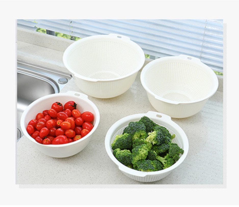 Plain double-layer wash basin drain basket / Simple modern kitchen washing fruit basket