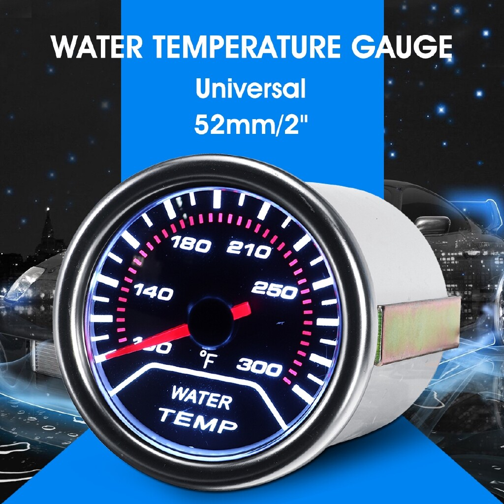 Gauges & Meters - Car Universal 52mm/2\'\' Water Temperature Gauge Meter Smoked Tint Fahrenheit LED - Car Accessories