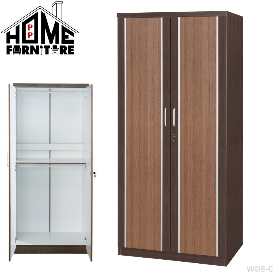 PP HOME Wardrobe/ Clothes cabinet/ Clothes organizer storage/ Shelf clothes/ Closet/ Clothes organisation/ Dressing cabinet/ Almari baju/ Rak baju/ Almari pakaian 衣橱/衣柜/衣架 WITH Mirror Cermin镜子WD8-C
