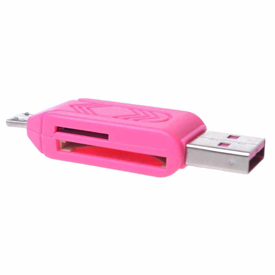 BLUCUB OTG Computer+Phone Card Reader USB+Micro USB Port SD/TF Card Pink (Pink)