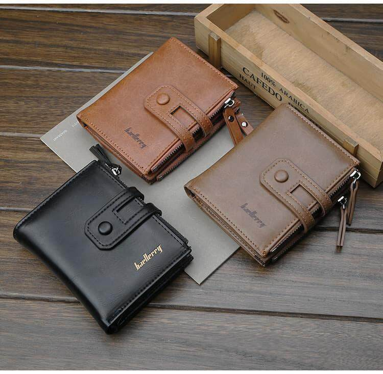 [M\'sia Warehouse Direct] 2019 Korean Series Men\'s Fashion Fengshui Wallet With Side-Clip Button Perfect Gift (Come With Box) Clutch Card Coins Cash Slot With Zip Portable Hand Carry Vertical Bag Luxury Top Material Genuine Leather Halal Dompet Kulit