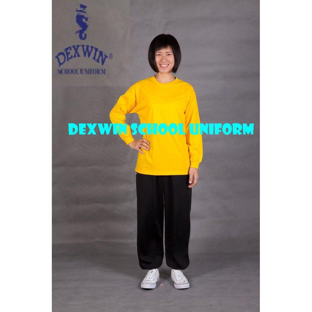 t-shirt kuning leher bulat tangan panjang kain cotton