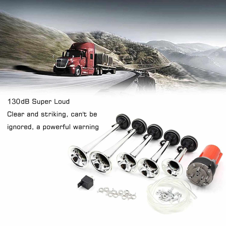 Best Selling Car Truck Five-tube Music Air Horns 12V 130DB Vehicle Trumpets Auto Loudspeakers (Standard)