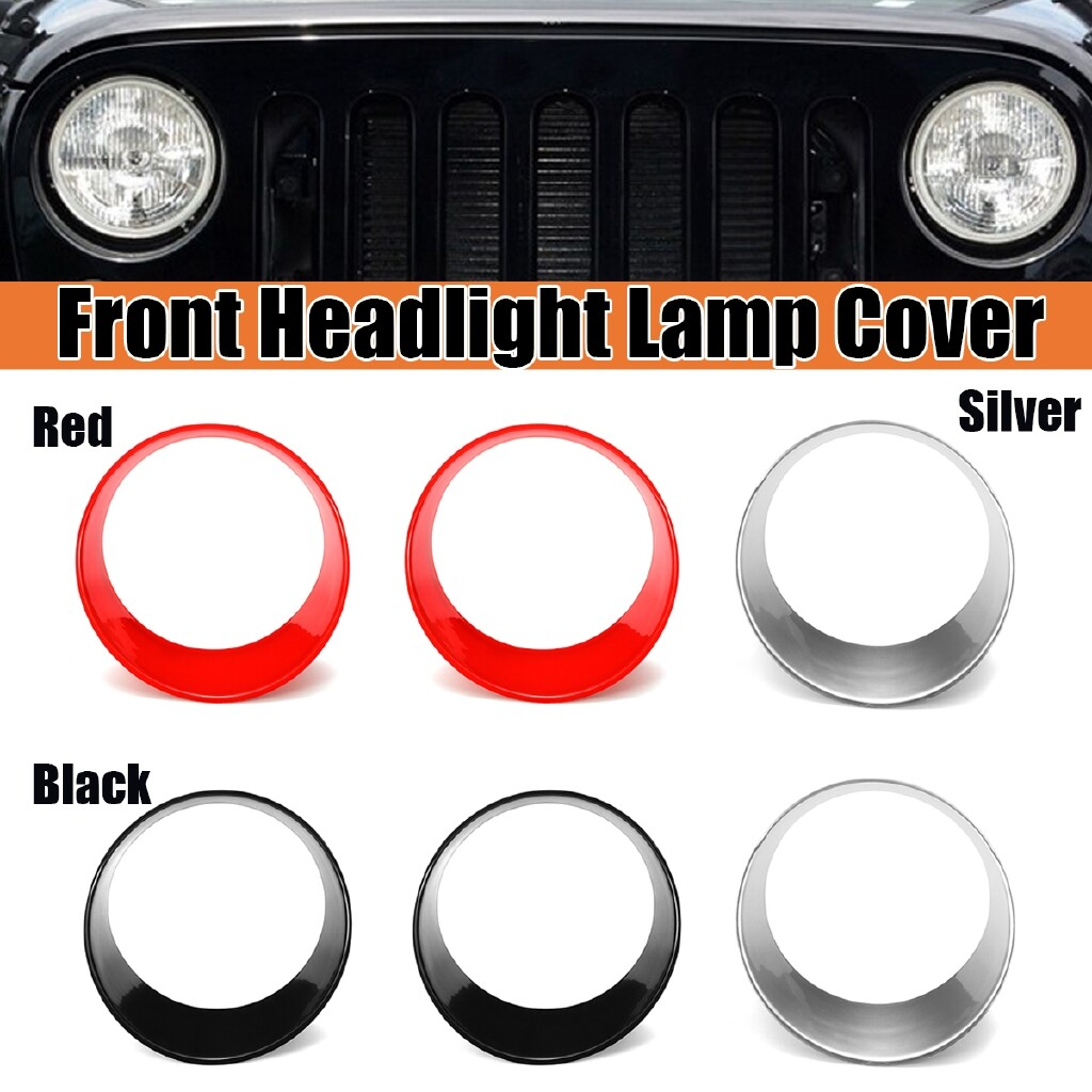 Car Stickers - A Pair Round Front Headlight Lamp Cover Decoration For Jeep Wrangler AU - BLACK / RED / SILVER