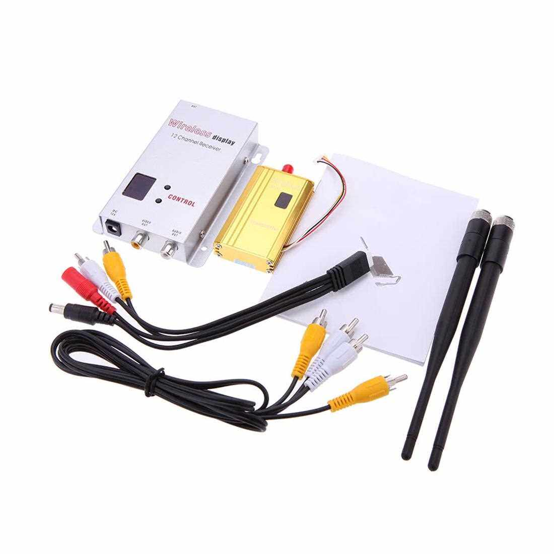 Best Selling 1500mW 1.2G Wireless 8CH Transmitter 12CH Receiver Digital Camera VCD/DVD Players AV Audio & Video Transmission System for Displayer Monitor FPV OSD (Gold+White)