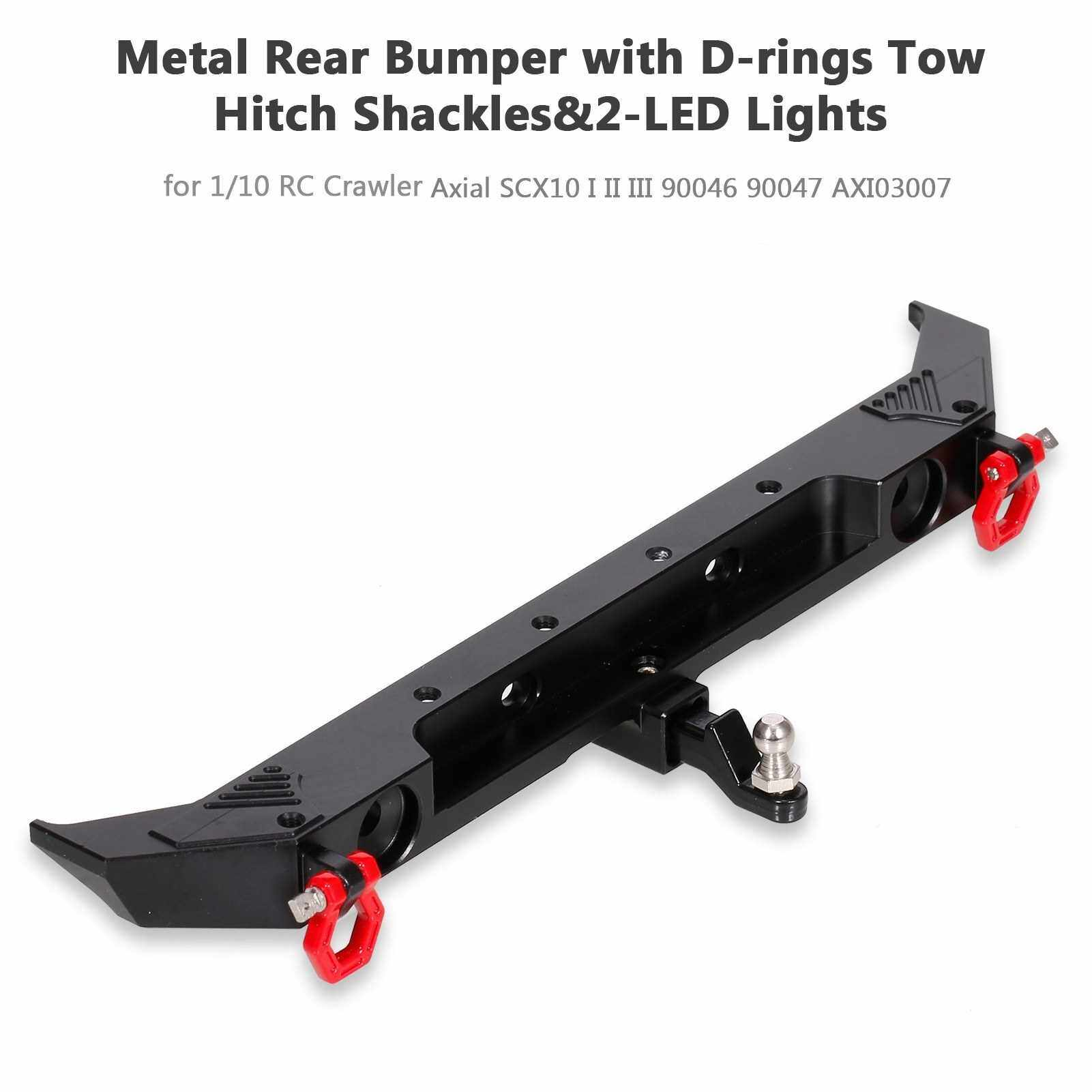 Best Selling 1/10 RC Crawler Car Metal Rear Bumper with D-rings Tow Hitch Shackles&2-LED Lights Compatible with Axial SCX10 I II III 90046 90047 AXI03007 (Standard)