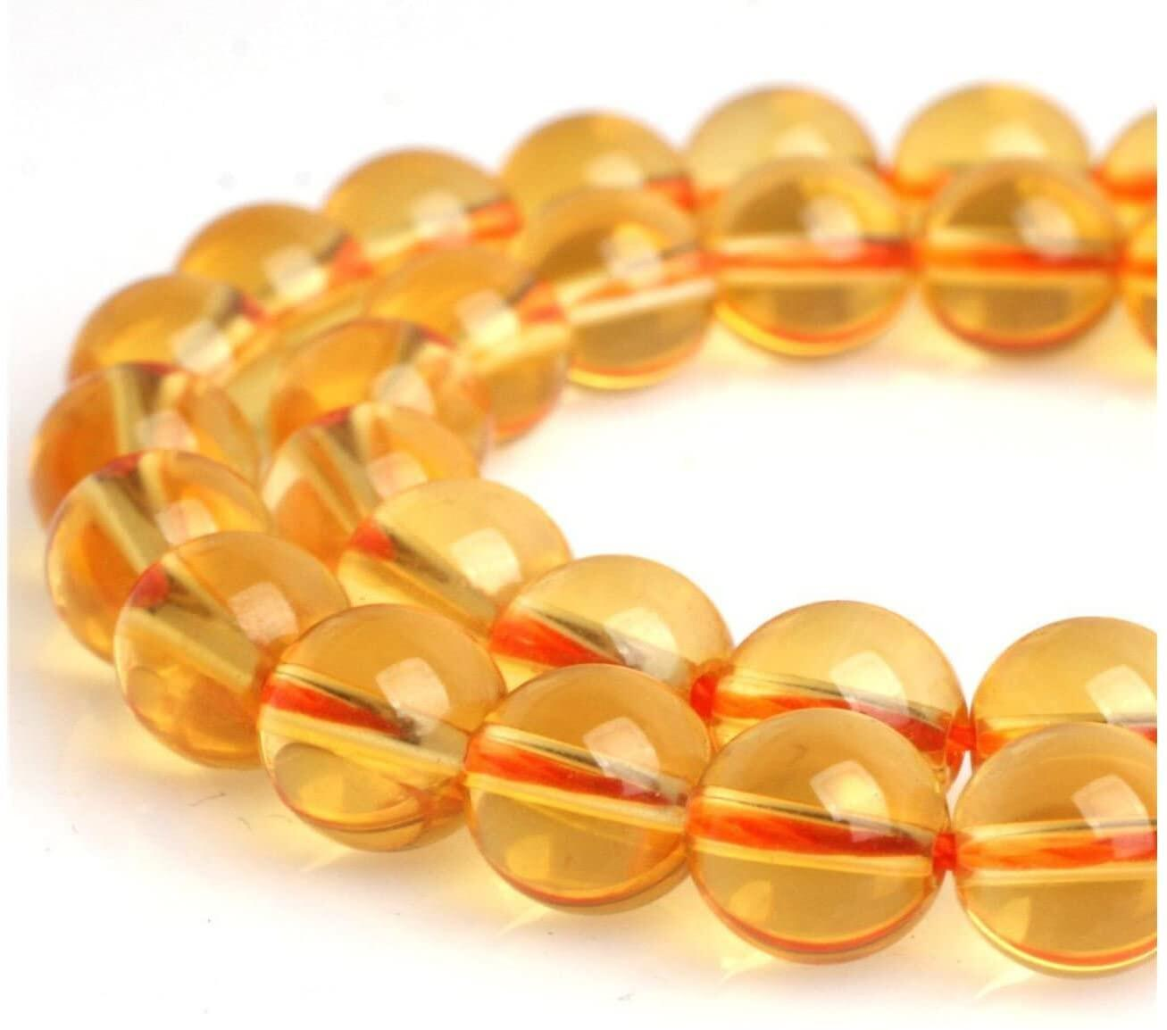 Citrine Gold Crystal Quartz Jade Round Beads 15.5'' (8mm)