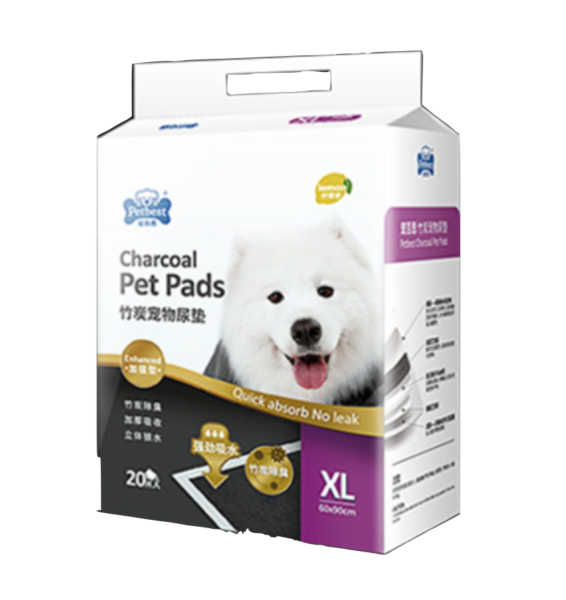 PETBEST【宠百思】Charcoal Training Pet Pads / Wee Wee Pads / Urine Pads 竹炭柠檬香宠物尿垫  XL Size (60cm x 90cm) 20pcs