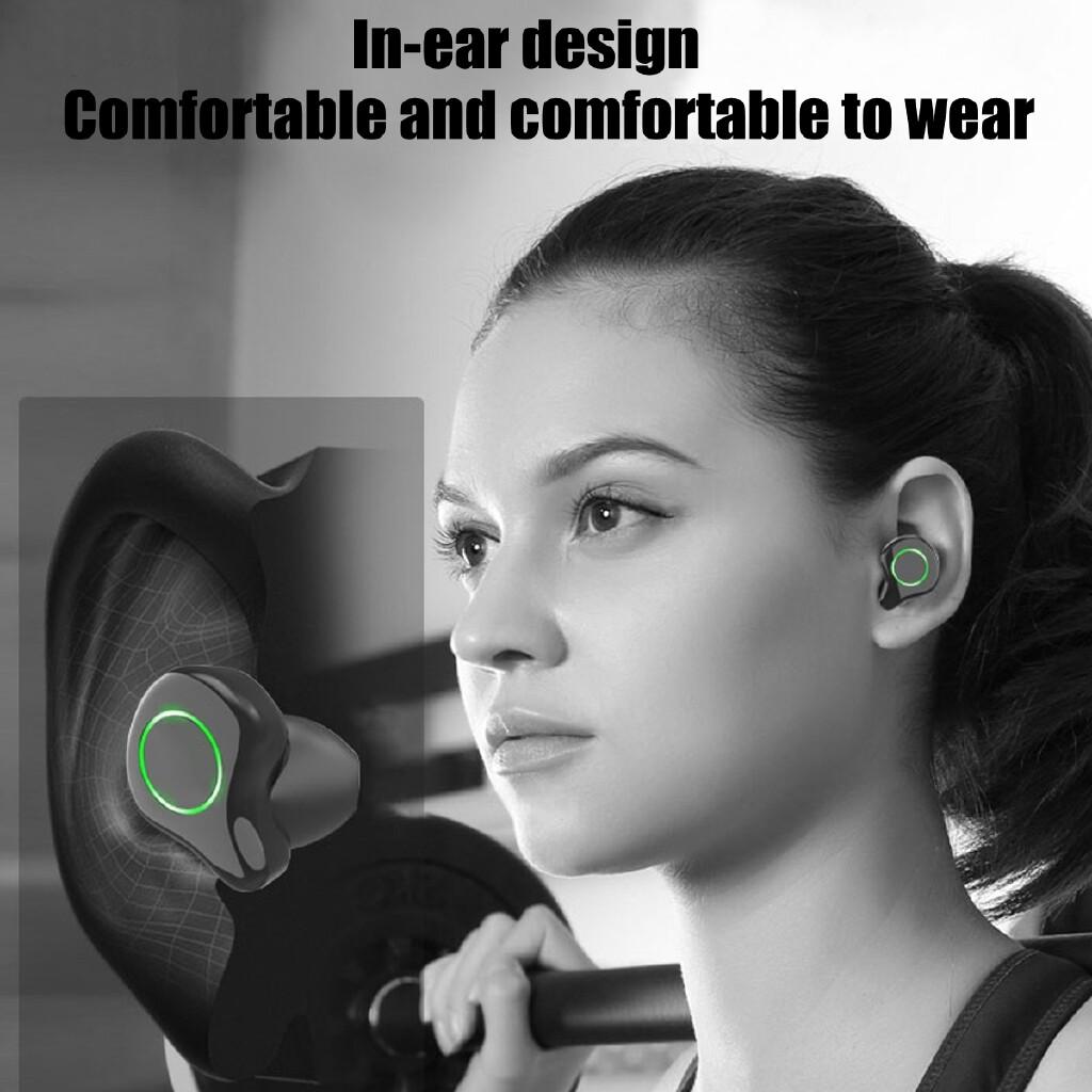 WIRELESS Earbuds - WIRELESS In-Ear Head SET BLUETOOTH Earphones LED Stereo Touch MINI Headphones - BLACK