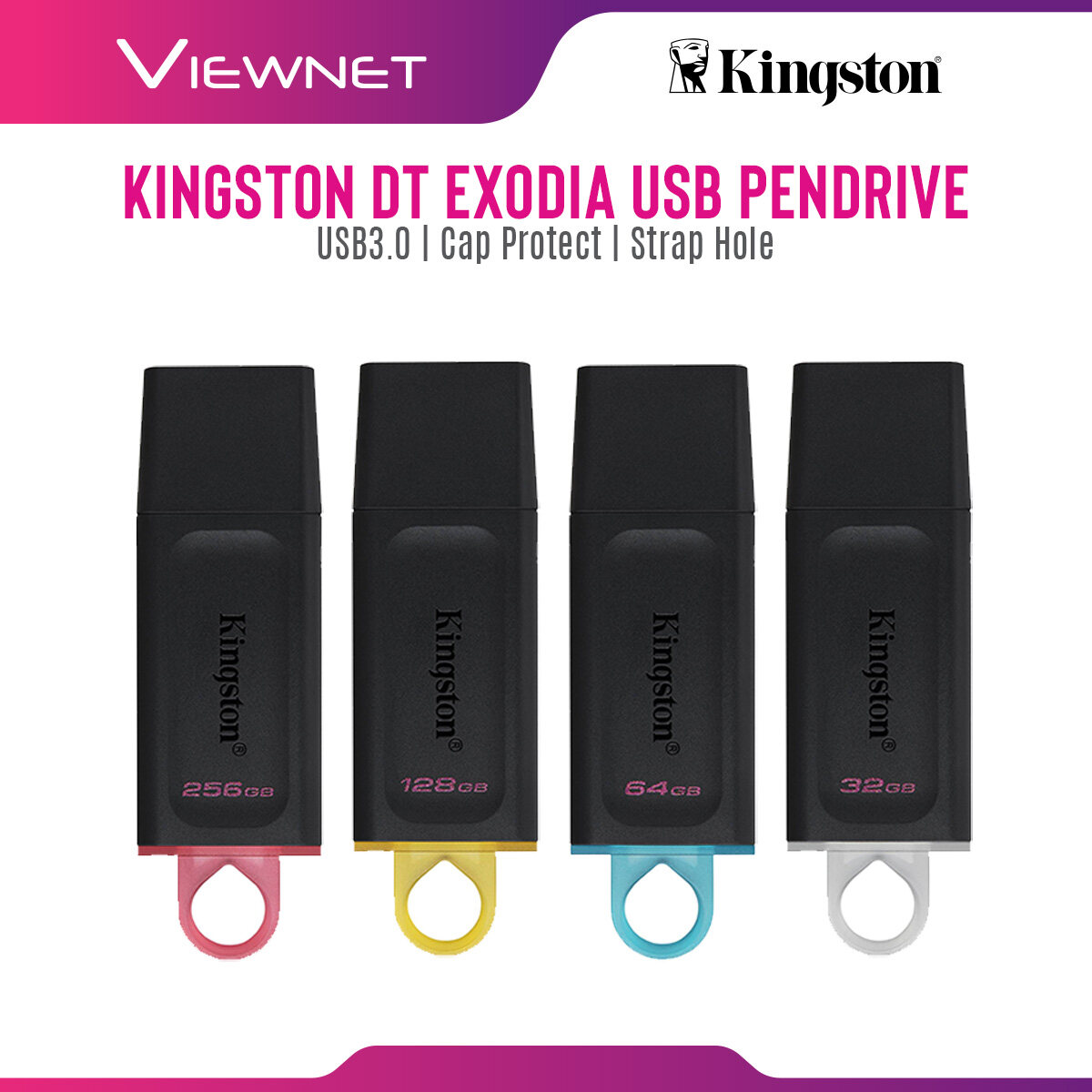 Kingston DataTraveler Exodia USB Flash Drive with USB 3.2 Gen1 1 Transfer Speed, Strap Hole, Cap Protect, Plug and Play (32GB / 64GB / 128GB / 256GB)