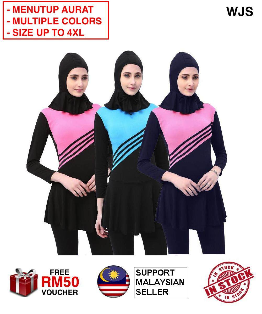 (AURAT DITUTUP) WJS Plus Size Muslimah High Quality Muslim Women Swimwear Islamic Swimsuit for Women Hijab Swimwear Full Coverage Conservative Swimwear Muslim Beachwear Swim Suit Pakaian Renang Muslim Baju Renang MULTICOLOR SIZE S-5XL [FREE RM 50 VOUCHER]
