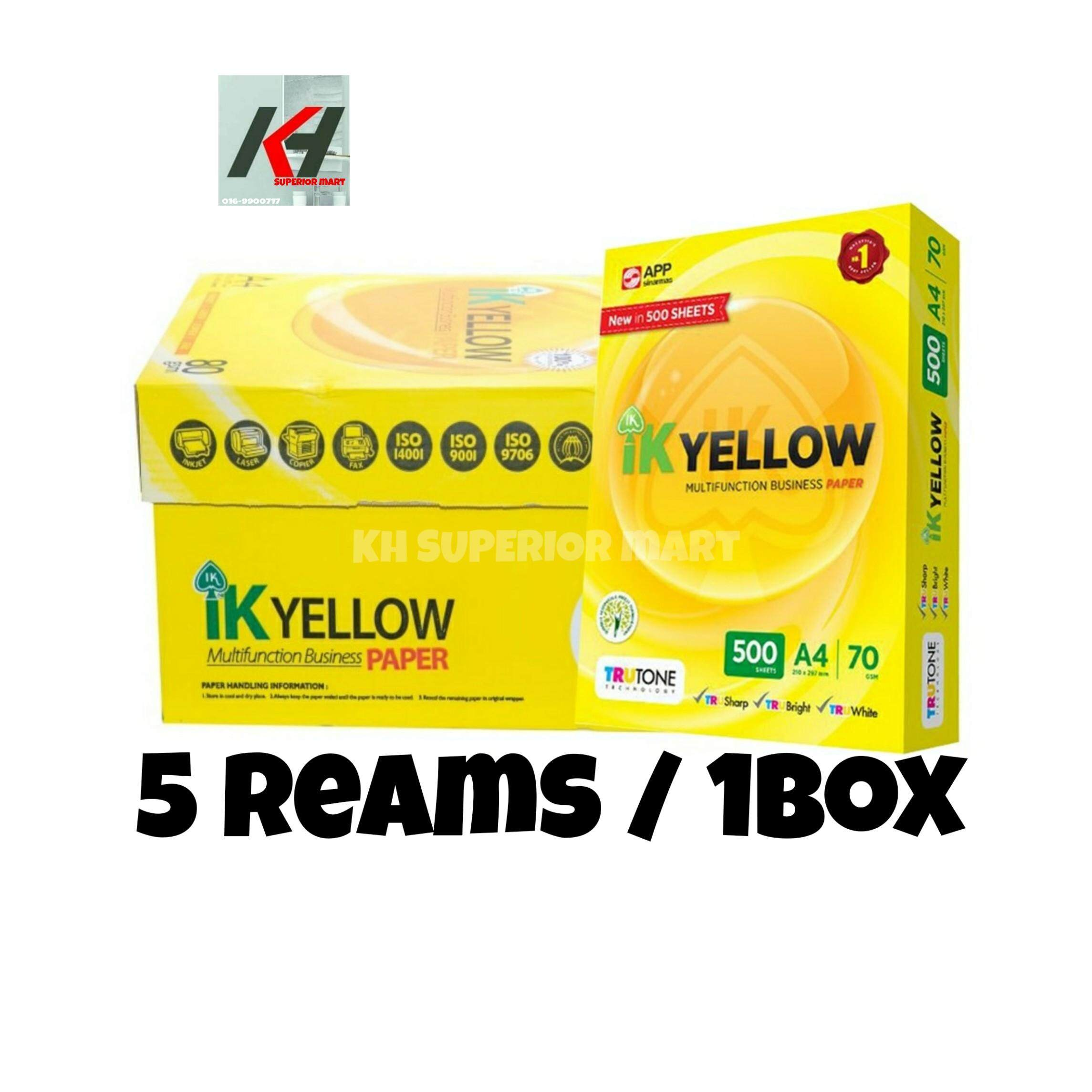 IK Yellow Multifunction Business Paper A4 70 gsm 500 Sheets 5REAMS/1BOX READY STOCK