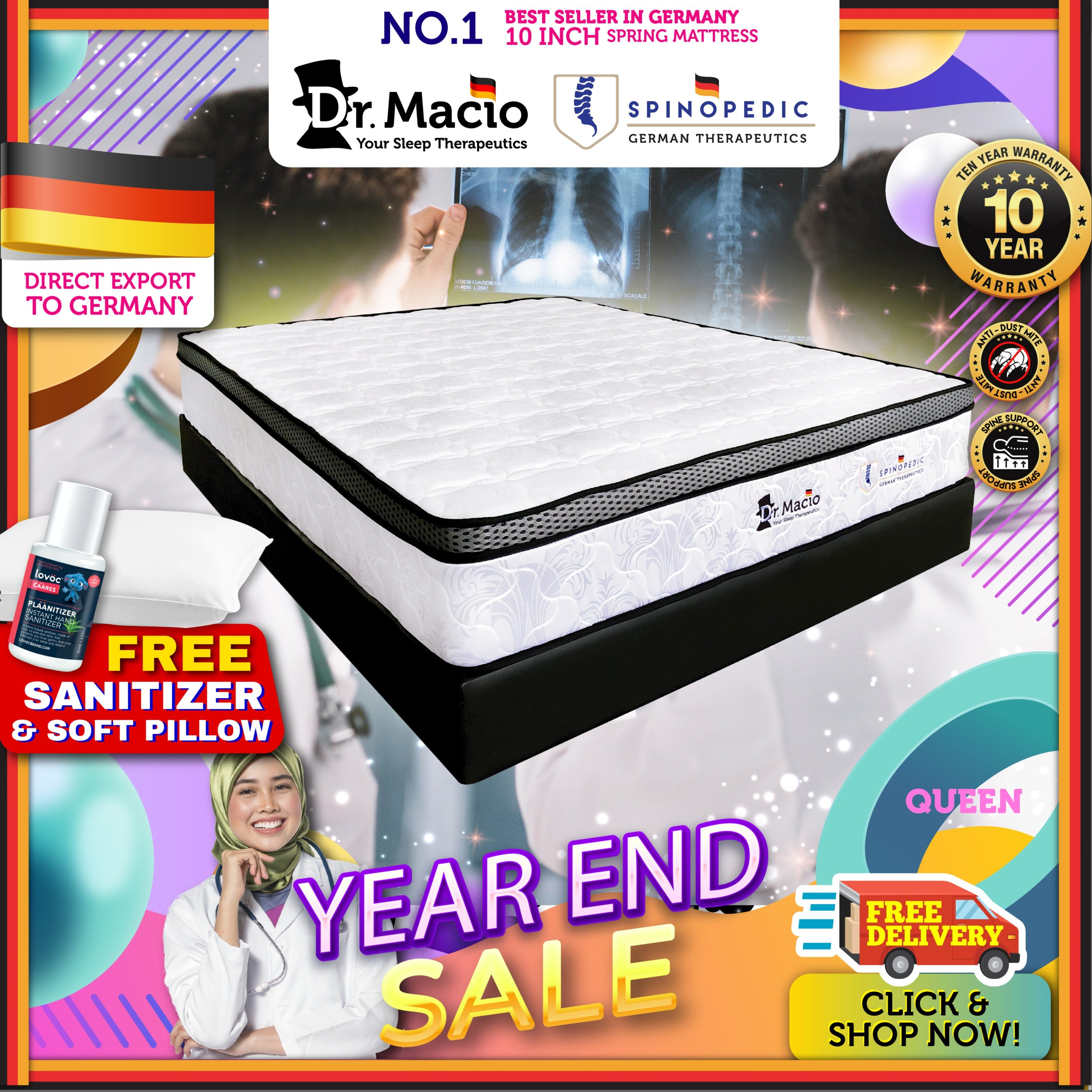 ( Free Shipping ) Dr Macio Spinopedic 10 inch Queen Size Mattress Ready Stock / Tilam Dr.Macio 10 years warranty anti dustmite FREE pillow FREE gift [ Fast Delivery ] [ Deliver in CMCO ]