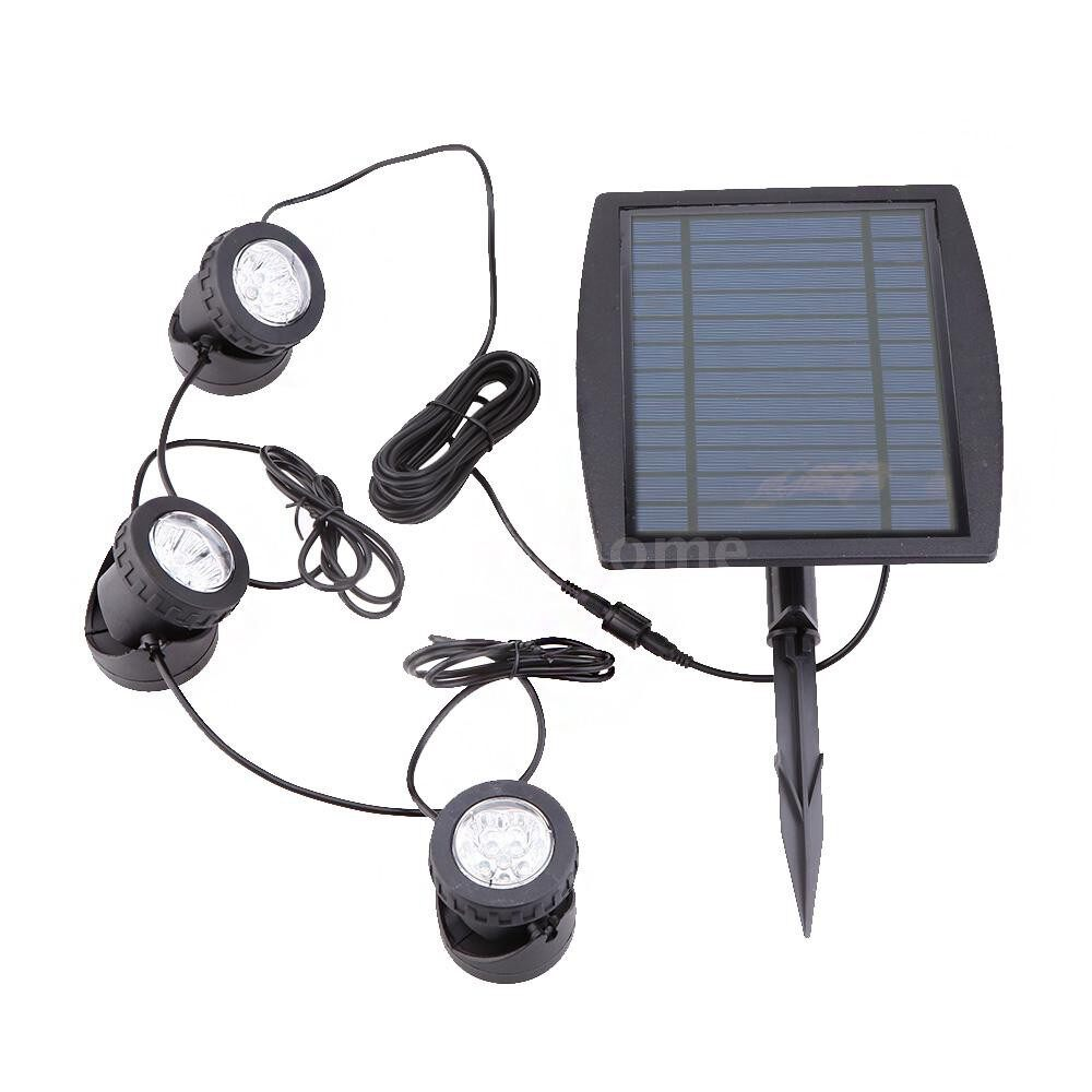 Outdoor Lighting - Solar Powered Super Bright 3 Submersible Lamps 18 LEDs Projector Light Garden Pool Pond Yard - WARM WHITE