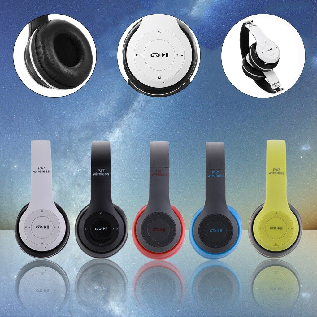 Over-Ear Headphones - Foldable WIRELESS BLUETOOTH Stereo Bass FM Headphones Head SET For smartphone_3C - BLACK RED / BLACK BLUE / GREEN / WHITE / BLACK