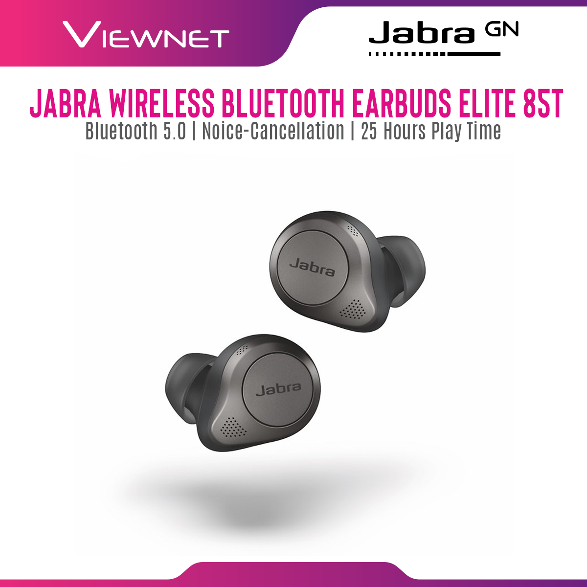 Jabra Elite 85T Wireless Bluetooth Earbuds with Bluetooth 5.0, Noice-Cancellation, 25 Hours Play Time, 6-Micropohne Call Technology, Voice Assistant, Wireless Charging Case