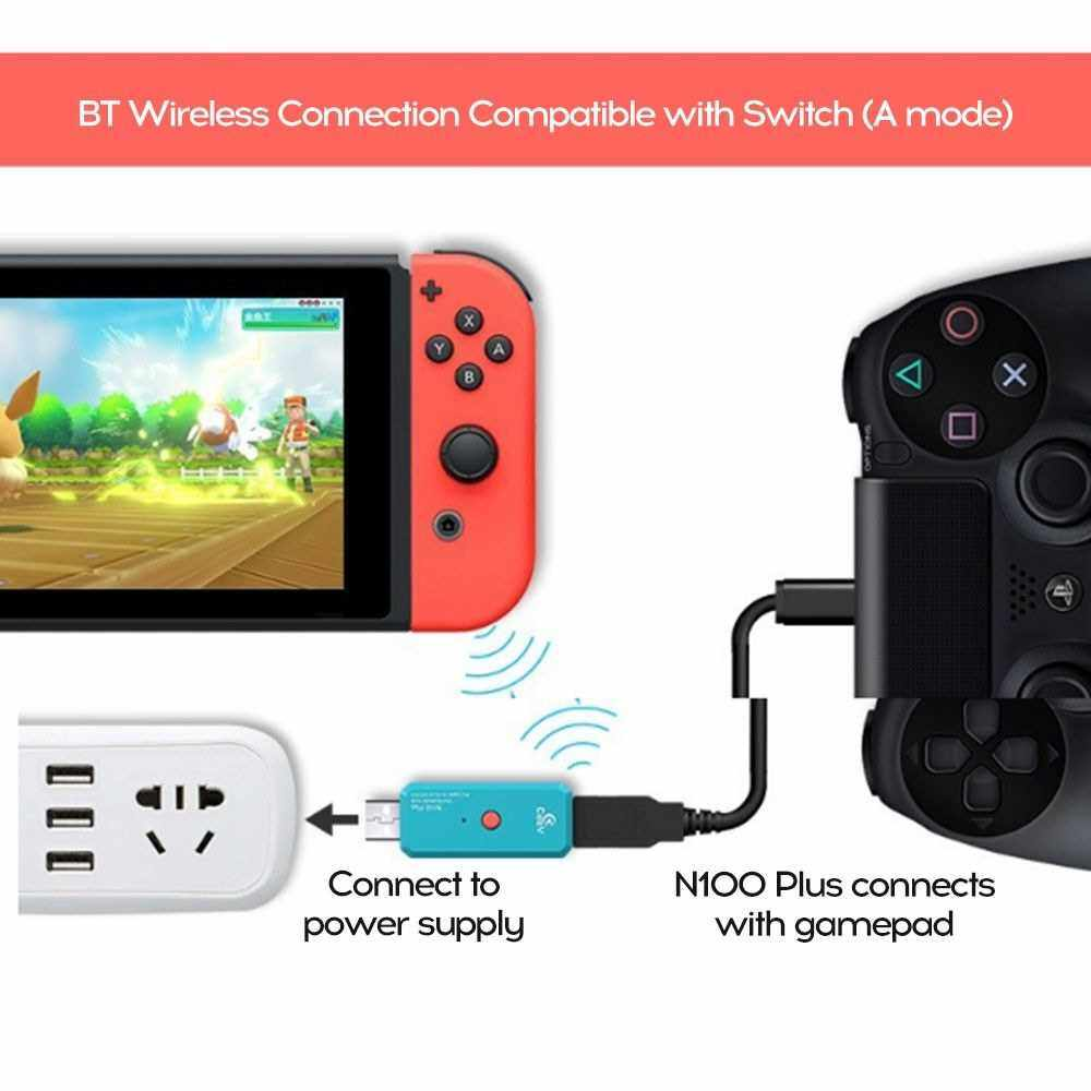 Coov N100PLUS W-ireless BT Adapter Converter Compatible with PS4 Switch Gamepad (Standard)