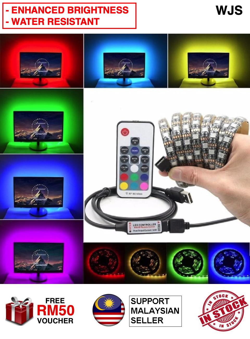(ENHANCED LED) WJS Waterproof USB LED Strip Light RGB 5050 3M 17keys Remote Control LED Stripe TV Light Decoration Light Decoration LED Night Light Rack Light Rack LED Lampu Hiasan Tali Lampu MULTICOLOR MULTISIZE [FREE RM 50 VOUCHER]