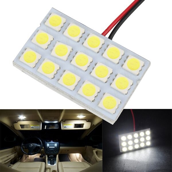 Car Lights - 5050 15SMD Car White LED Interior Dome Door Reading Panel Light - Replacement Parts