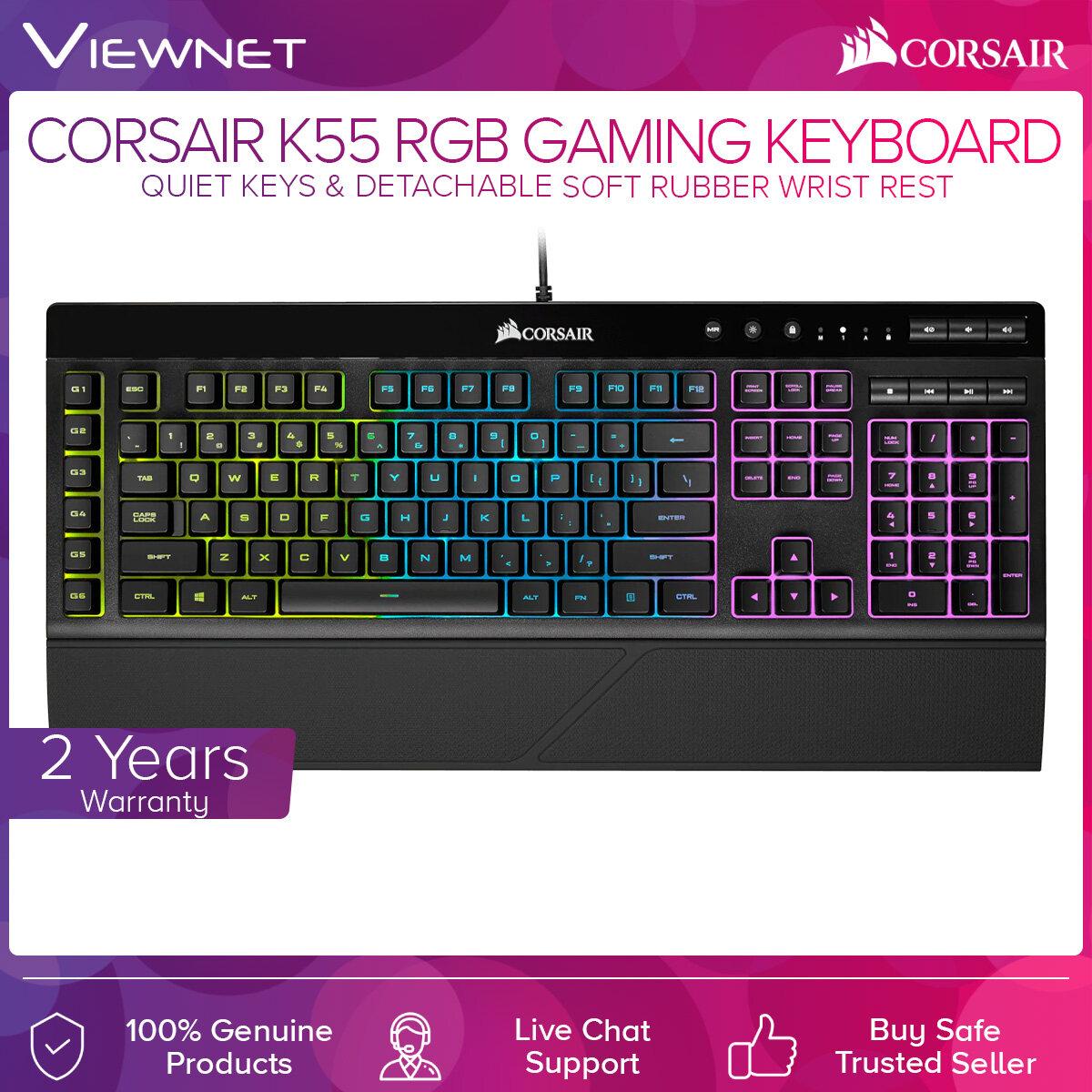 Corsair K55 RGB USB 2.0 Gaming Keyboard with Quiet Keys & Detachable Soft Rubber Wrist Rest (CH-9206015-NA) iCUE Software, Intuitive RGB Backlighting Modes, 6 Dedicated Macro Keys, Multi-Key Anti-Ghosting, On-the-Fly Media Controls, Windows Key Lock Mode