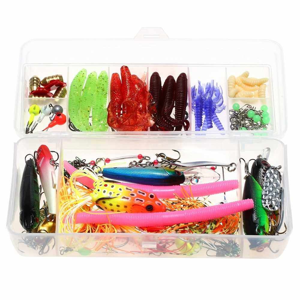112pcs Fishing Lure Set Fishing Lure Bait Gear Kit Spinnerbaits Worms Jig Hooks with Tackle Box (Standard)