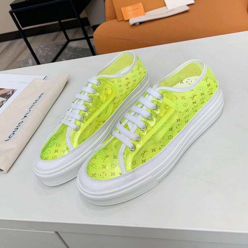 LV2020 latest colorful women's shoes, summer PVC colorful casual shoes, transparent sneakers, calfskin discoloration lace-up shoes